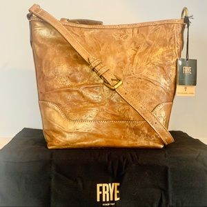Frye Melissa Small Hobo Bronze Leather Crossbody